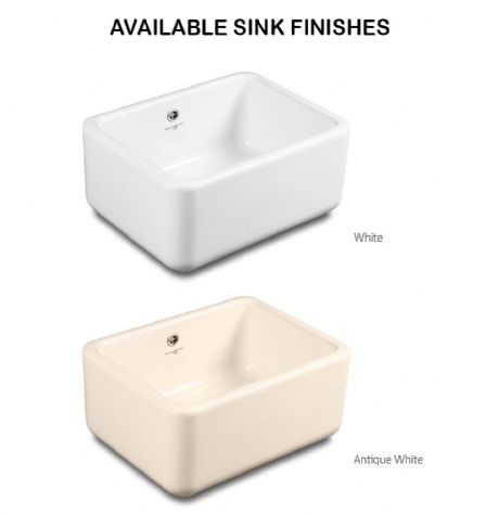 2460 / 6400 Perrin & Rowe Butler 600 Ceramic Sink, With Optional Waste & Overflow Kit